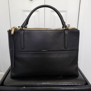 COACH Pebbled Leather Borough Bag black/gold metal